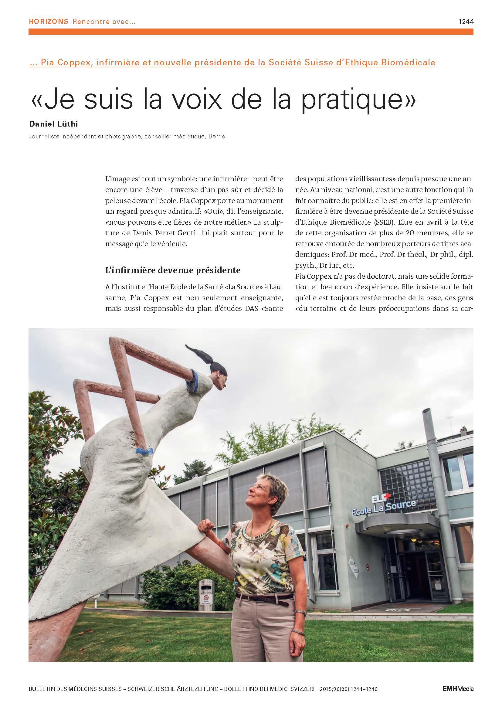 Extrait Bulletin des Medecins Suisses aout 2015 Page 1